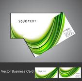 Template vecteur de vague coloré vert élégant simple carte de visite — Vecteur