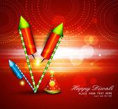 Diwali crackers hindu festival bright colorful vector design — Stock Vector