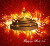 Happy diwali diya celebration hindu festival shiny colorful ve — Stock vektor