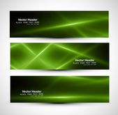 Abstract shiny green colorful header rays wave whit vector — Stock Vector