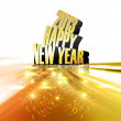 Happy new year 2013 reflection golden colorful shiny design — Stock Vector #22224389