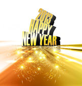 Happy new year 2013 reflection golden colorful shiny design — Stock Vector