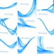 Abstract blue colorful business wave vector set - Stock Vector