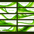 Abstract green shiny header set vector - Stock Vector