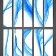 Abstract blue colorful shiny vertical header vector set - Stockvectorbeeld