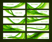 Abstract green shiny header set vector — Stock Vector