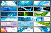 Abstract Various 18 colorful header set collection vector — Stock Vector