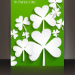 Stock Vector: St patricks day Brochure leafed green reflection background vect