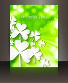 St patricks day Brochure leafed green wave reflection vector des — Stock Vector
