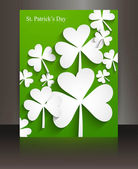 St patricks day Brochure leafed green reflection background vect — Stock Vector