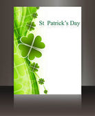 St patricks day Brochure wave reflection white vector — Stock Vector