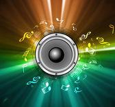 Altavoces abstracto brillante arco iris colorido onda música notas vecto — Vector de stock