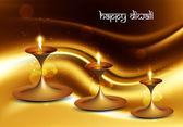 Happy diwali beautiful illuminating Diya background festival wav — Stock Vector