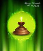 Happy diwali vector beautiful illuminating Diya green colorful b — Stock Vector