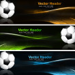 Abstract bright colorful headers soccer ball set wave vector — Stock Vector