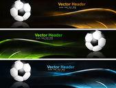 Soyut parlak renkli başlıkları futbol topunun dalga vektör ayarla — Stok Vektör