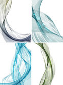 Set of abstract colorful line wave white vector background illus — Stock Vector