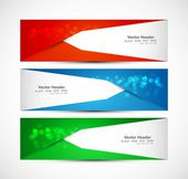 Abstract three header different colorful wave whit vector — Stock Vector