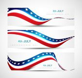 Independence day background three header set Vector illustratio — Stock Vector