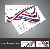 American Flag 4th july business card set wave white vector illus — Stock Vector