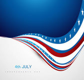 American Independence Day shiny wave vector illustration — Stock Vector