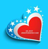 4th july american independence day heart with star blue vector b — Stock Vector