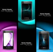 Smart phone three colorful presentation website headers vector — Stock Vector