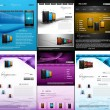 Website template mobile phone presentation collection colorful d — Stock Vector