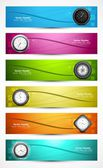 Set of six colorful presentation headers with timers watch white — Stock Vector
