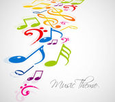 Abstract music notes colorful background vector design — Stock Vector