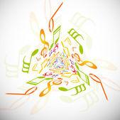 スタイリッシュな音楽ノート カラフルな背景ベクトル イラスト — ストックベクタ