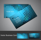 Abstract circle blue bright colorful halftone business card set — Stock Vector
