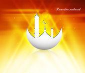 Ramadan kareem reflection Beautiful bright colorful card vector — Stock Vector
