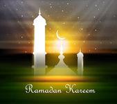 Ramadan kareem greeting card shiny colorful vector background — Stock Vector