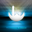 Beautiful greeting card for ramadan kareem blue background vecto — Stock vektor