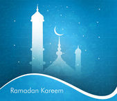 Ramadan kareem beautiful card blue background wave vector illust — Stock Vector