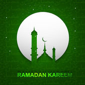 Ramadan kareem beautiful green card design vector — ストックベクタ