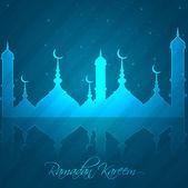 Ramadán kareem světle modré barevné reflexe vektor illustrati — Stock vektor