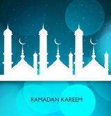 Shiny ramadan kareem mosque blue colorful vector background — Stock Vector