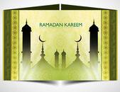 Ramadan kareem beautiful green colorful islamic card vector — Stock Vector