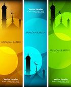 Ramadan kareem mosque bright colorful header vector illustration — Stock Vector