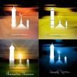 Wektor stockowy : Ramadkareem beautiful colorful card four collection presentat
