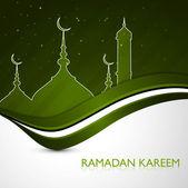 Ramadan kareem card green colorful stylish wave vector — Stock Vector