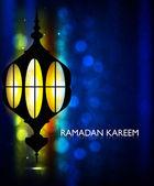Arabe lampe avec éclairage de fond ramadan kareem vecteur illust — Vecteur