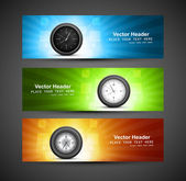 Set of three colorful headers with timers watch vector design — Stock Vector