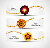 Raksha bandhan viering kleurrijke headers vector — Stockvector