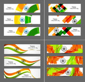 Indian flag colorful wave set of collection headers vector illus — Stock Vector