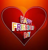 Fantastic Happy Friendship day text for heart red background ill — Stock Vector