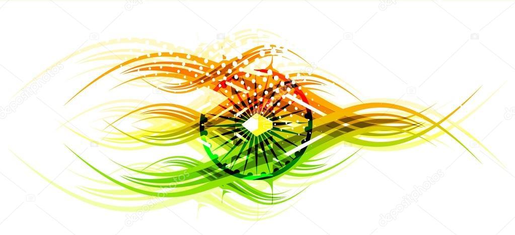 India Flag Theme: Bandiera Indiana Tema Sfondo Tricolore Onda Elegante