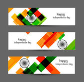 Indian flag tricolor colorful set of headers vector — Vettoriale Stock